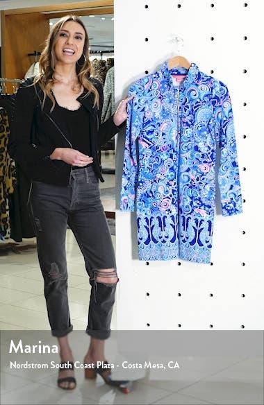 Skipper Ruffle Neck Long Sleeve Print Shift Dress, sales video thumbnail