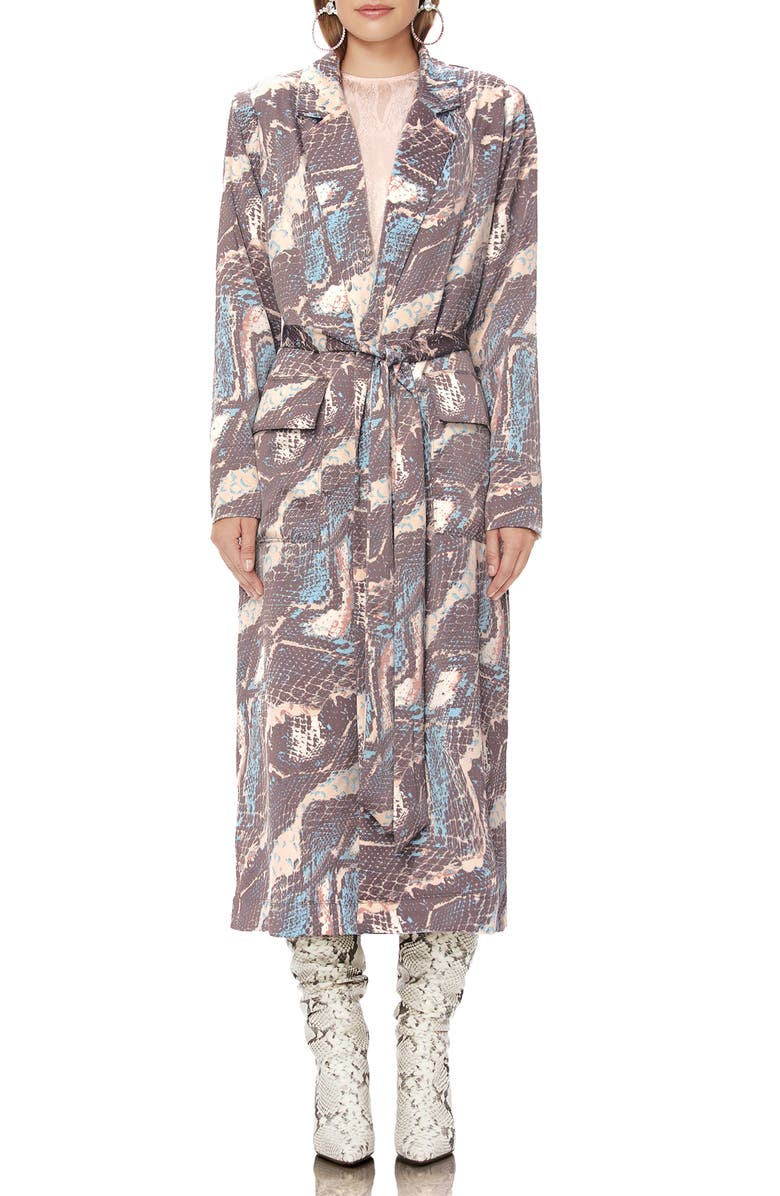 AFRM Rika Trench Coat, Main, color, ABSTRACT SNAKE