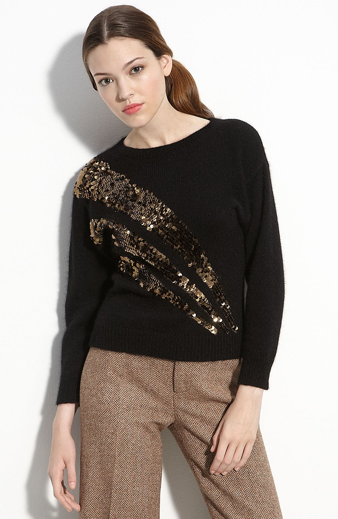 'Quad' Sequined Sweater, Main, color, 002