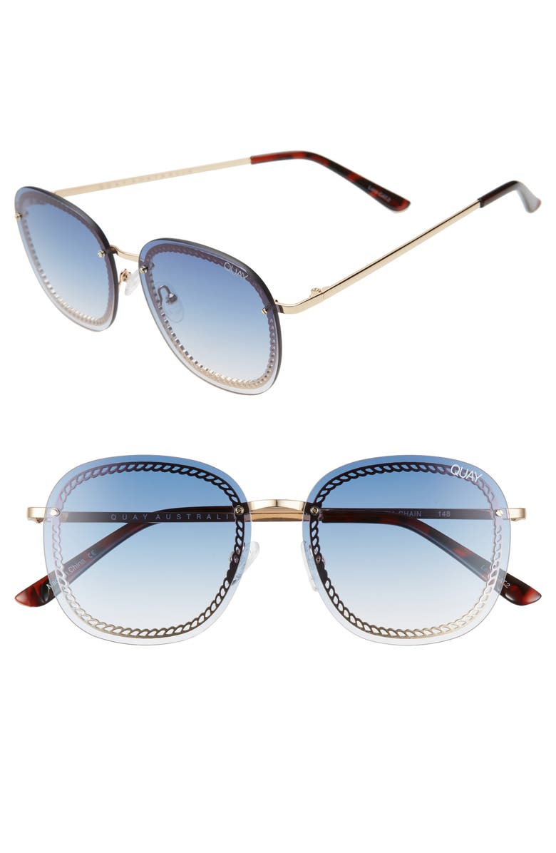 QUAY AUSTRALIA Jezabell Chain 53mm Aviator Sunglasses, Main, color, GOLD/ BLUE FASDE
