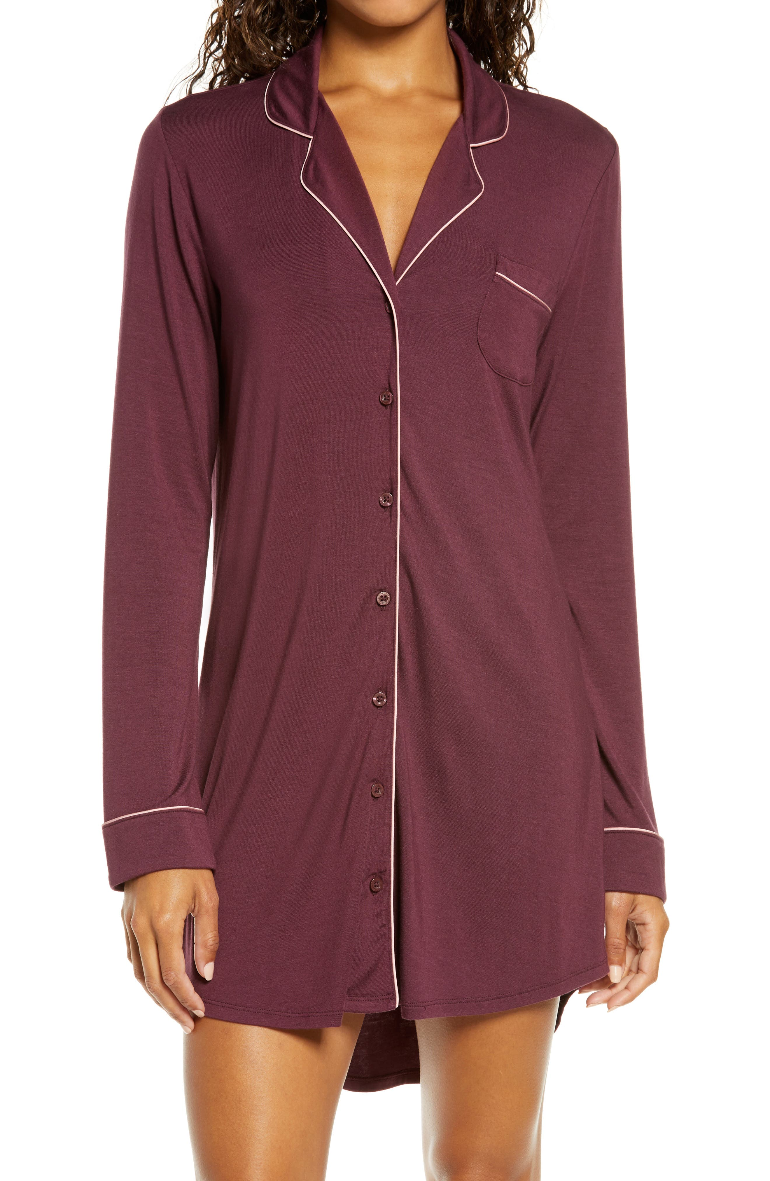 Traced with contrast piping for a classic finish, this soft and comfy sleep shirt is great for lounging, layering and, of course, sleeping. Style Name: Nordstrom Moonlight Dream Sleep Shirt. Style Number: 6000891. Available in stores.
