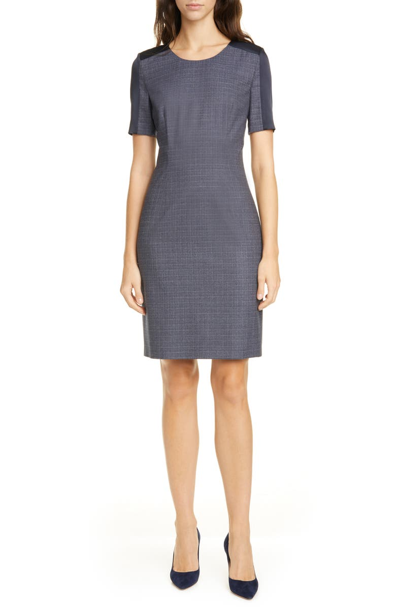 BOSS Dirusa Crosshatch Virgin Wool Short Sleeve Dress, Main, color, PILOT FANTASY