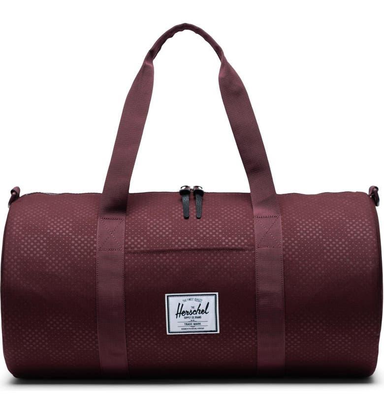 HERSCHEL SUPPLY CO. Medium Sutton Duffle Bag, Main, color, PLUM DOT CHECK