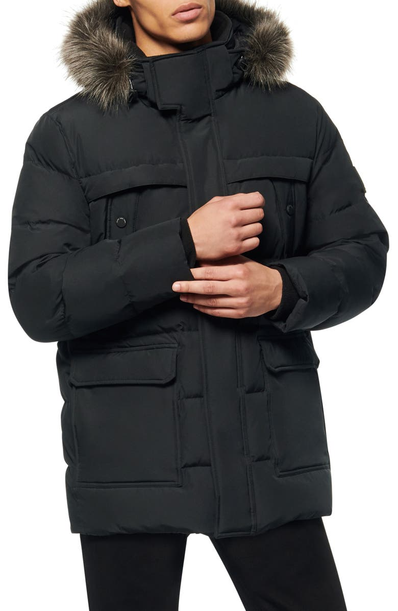 MARC NEW YORK Pembroke Faux Fur Trim Down & Feather Fill Quilted Coat, Main, color, BLACK