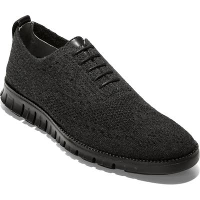 Cole Haan Zerogrand Stitchlite Wool Wingtip Oxford- Black