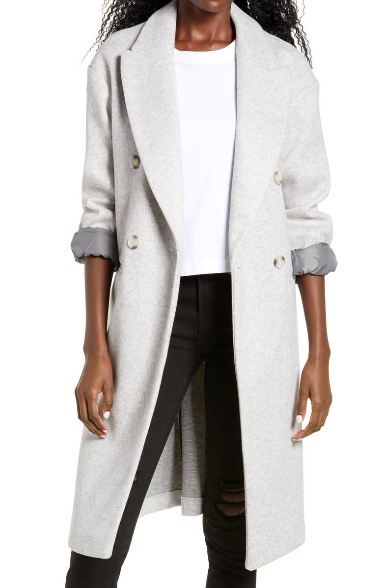 TOPSHOP Brook Double Breasted Longline Coat, Main, color, GREY