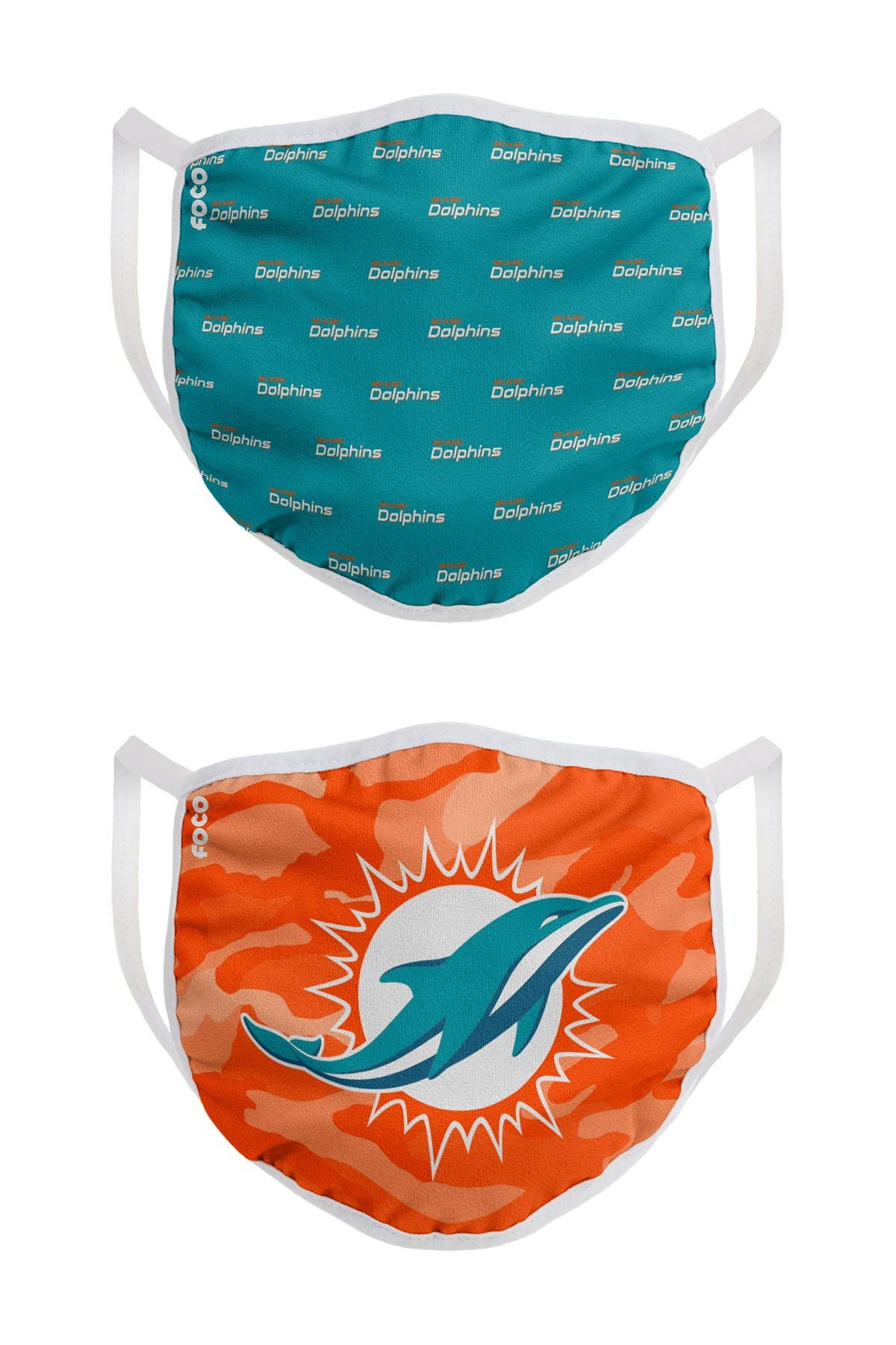 Image of FOCO NFL Miami Dolphins Clutch Printed Face Cover - Pack of 2