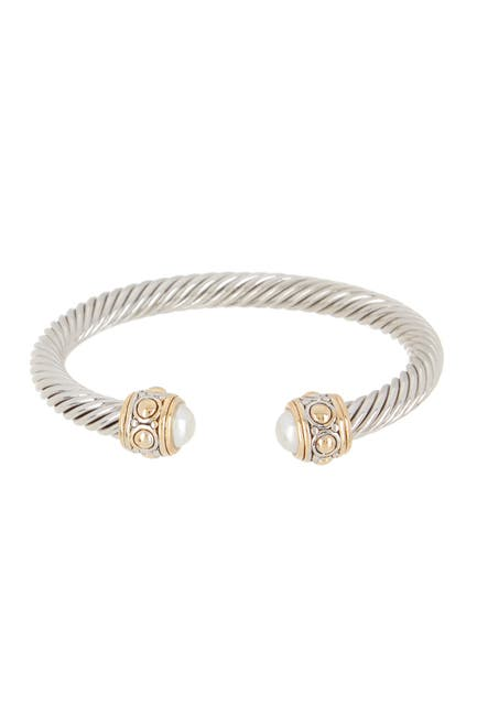 Image of Meshmerise Twisted Cable Faux Pearl Cap Cuff Bracelet