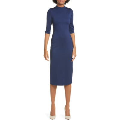 Alice + Olivia Delora Fitted Mock Neck Dress, Blue