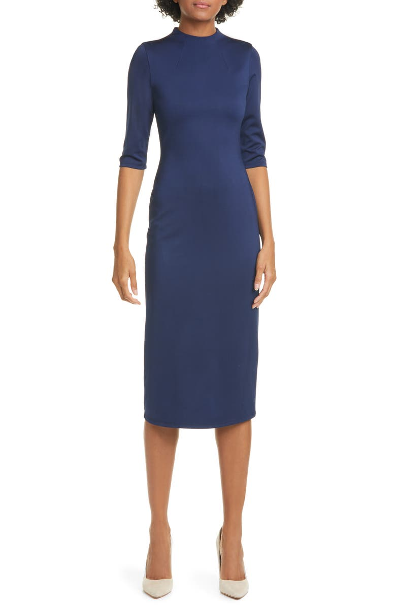 ALICE + OLIVIA Delora Fitted Mock Neck Dress, Main, color, NAVY