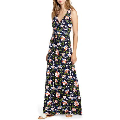 Loveappella Surplice Floral Jersey Maxi Dress, Blue