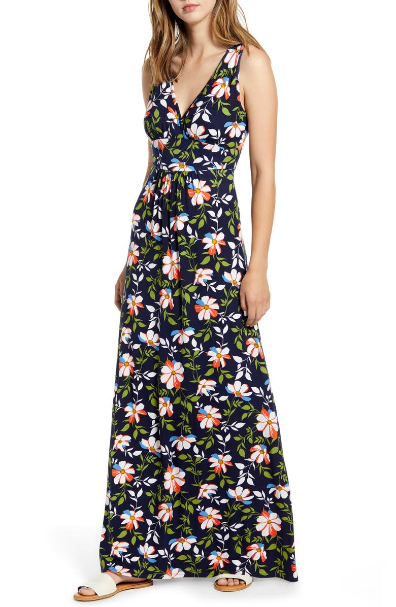 LOVEAPPELLA Surplice Floral Jersey Maxi Dress, Main, color, NAVY/ RED