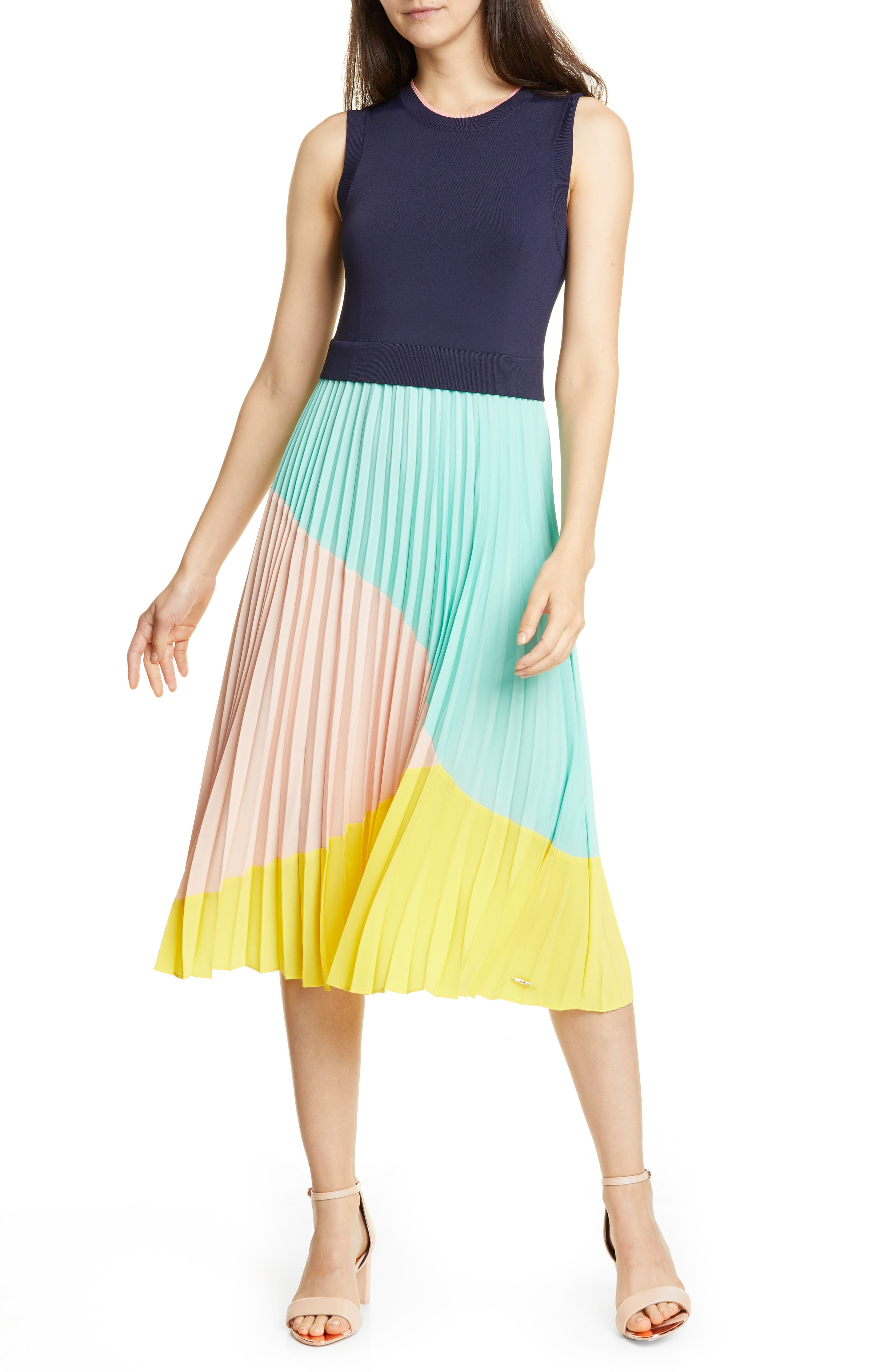 Ted Baker London Colour By Numbers Ophelea Accordion Pleat Dress, Blue