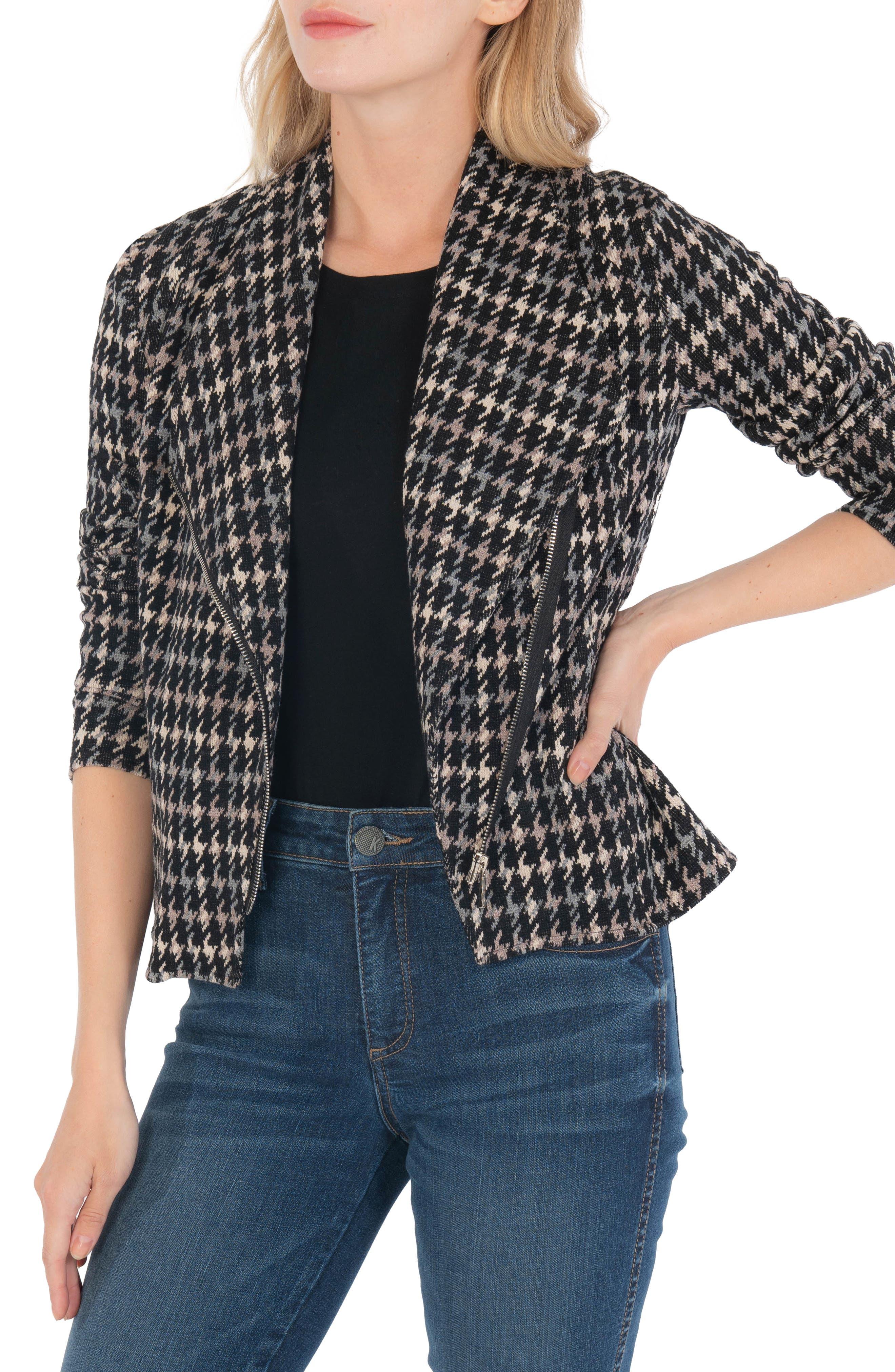 Carina Houndstooth Check Drapey Jacket
