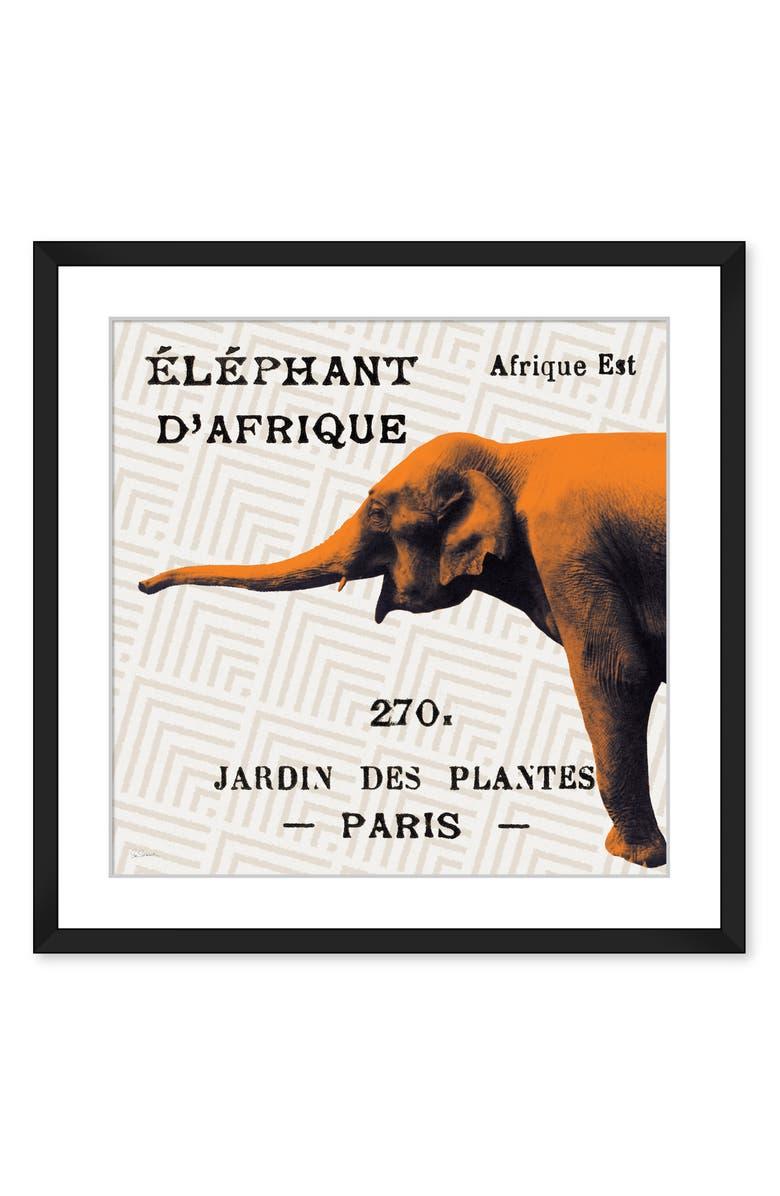 NEW ERA STUDIOS Bright Safari Elephant Framed Wall Art, Main, color, MULTI