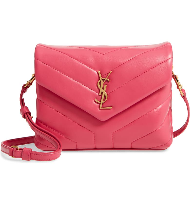 SAINT LAURENT Toy Loulou Matelassé Leather Crossbody Bag, Main, color, SHOCKING PINK