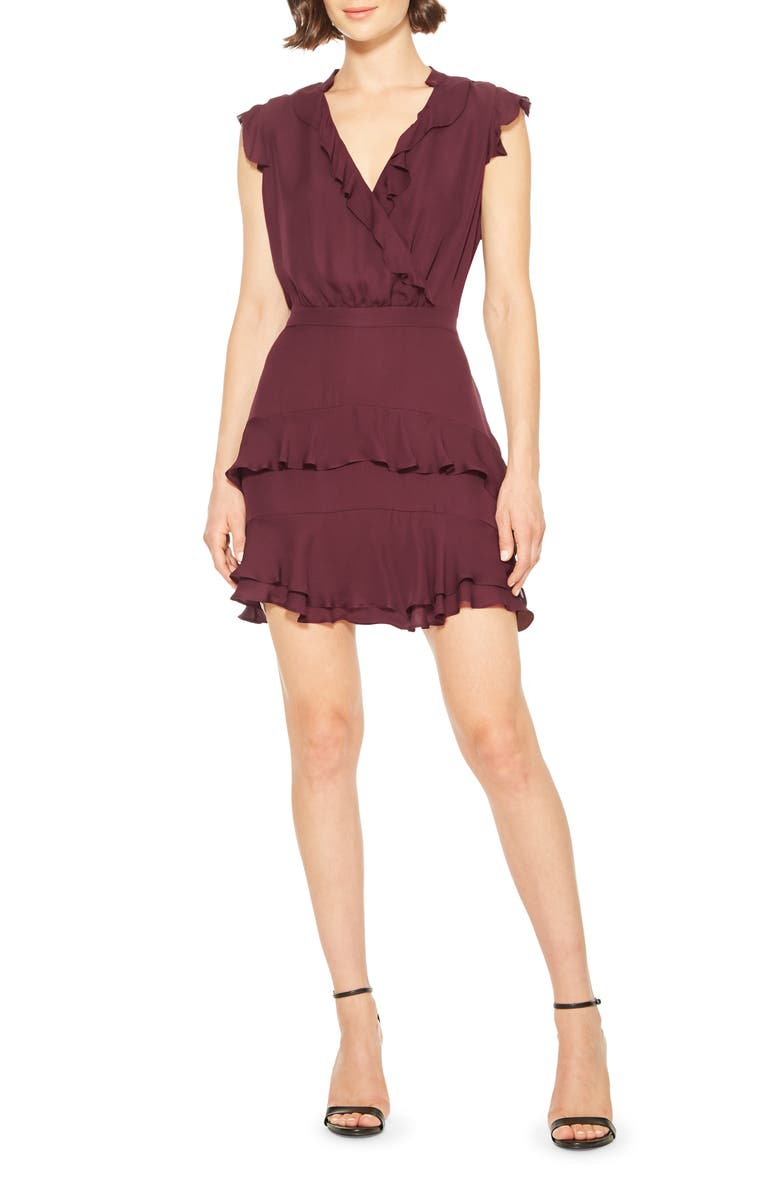 PARKER Tangia Ruffle Detail Minidress, Main, color, MAROON