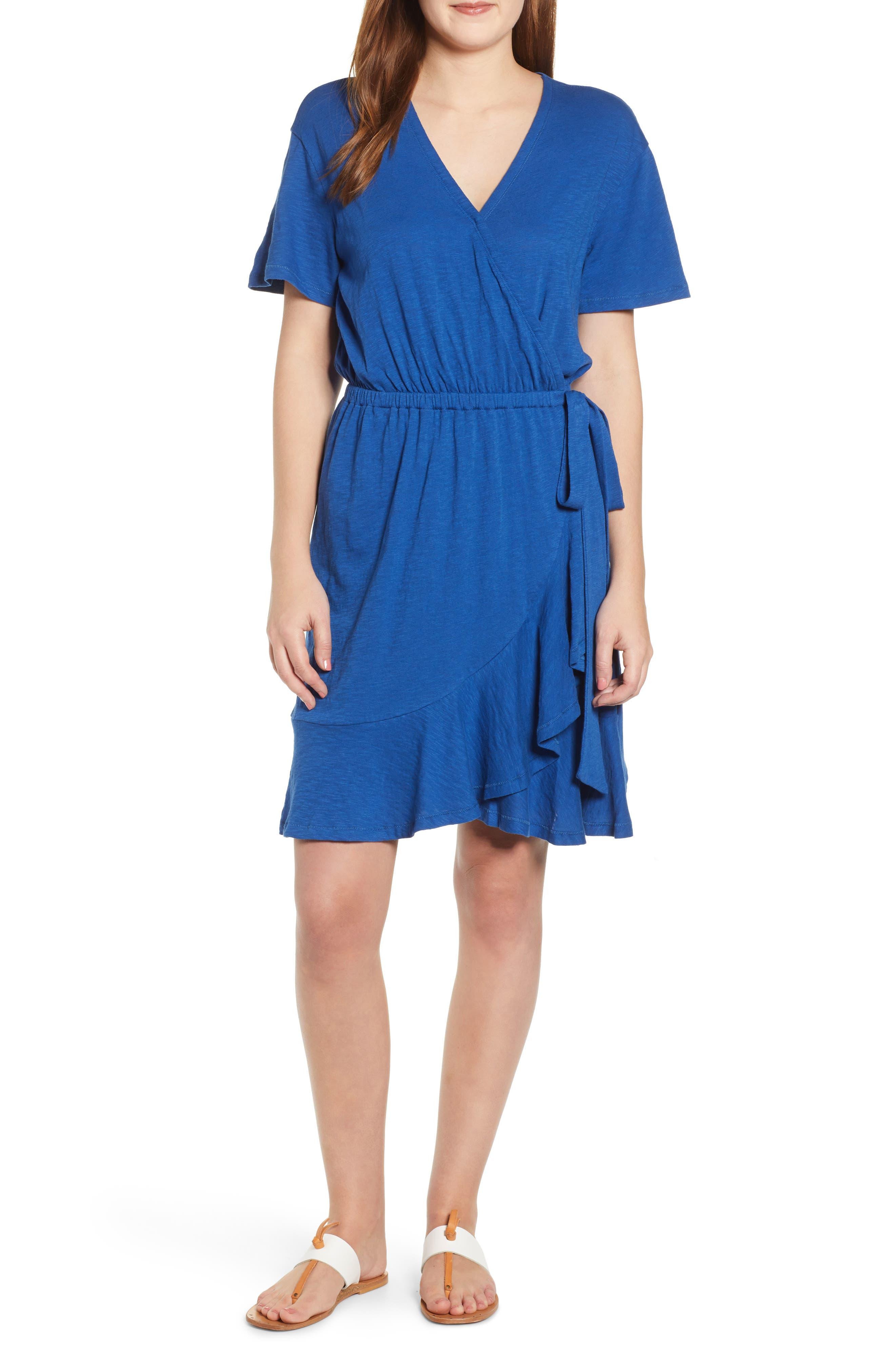 Caslon Asymmetrical Hem Faux Wrap Dress, Blue