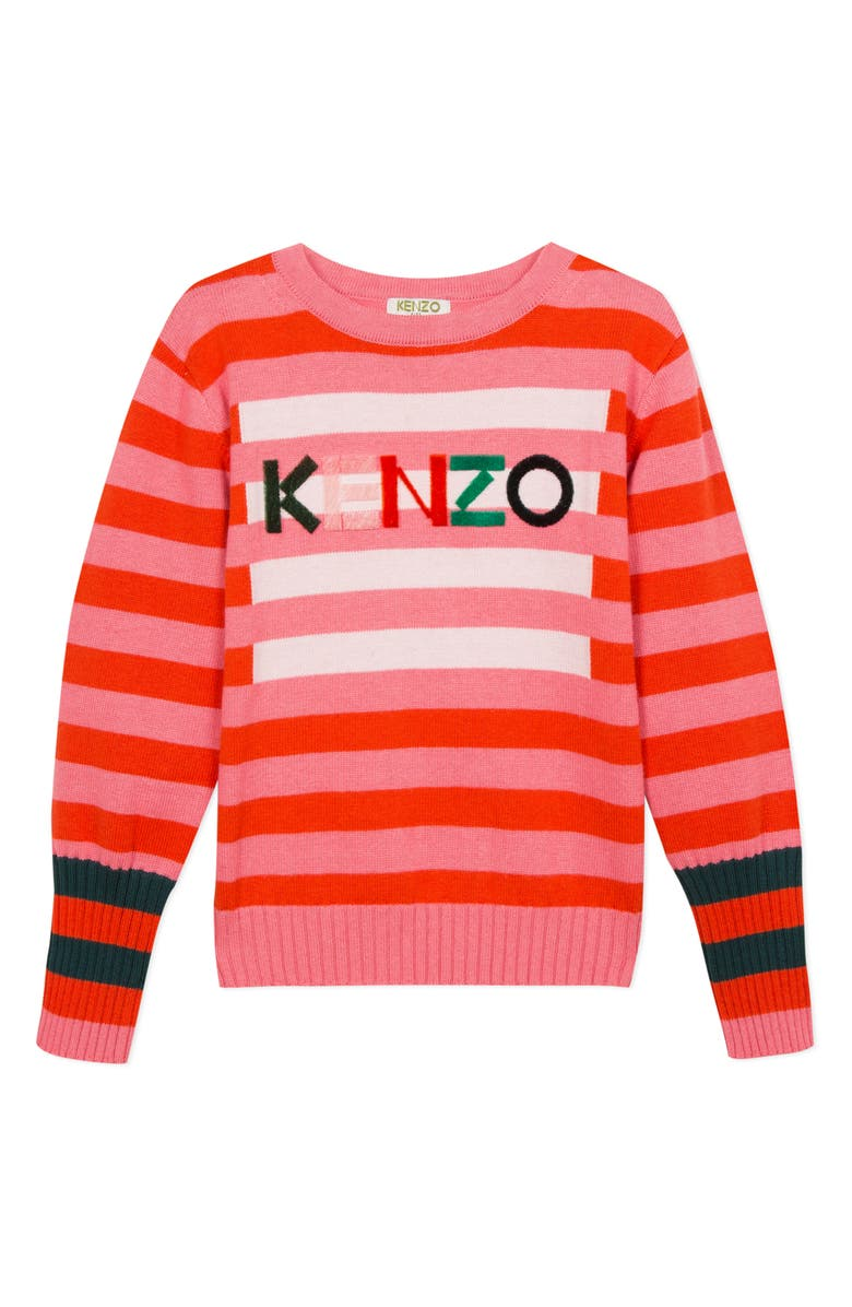 KENZO Stripe Logo Cotton & Wool Sweater, Main, color, BRIGHT PINK