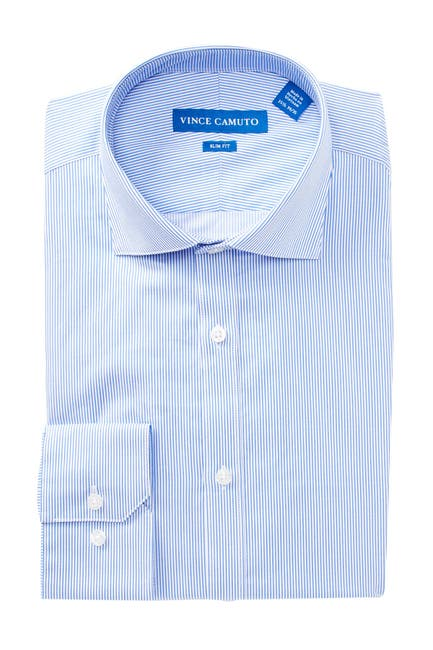 Image of Vince Camuto Twill Pinstripe Slim Fit Dress Shirt