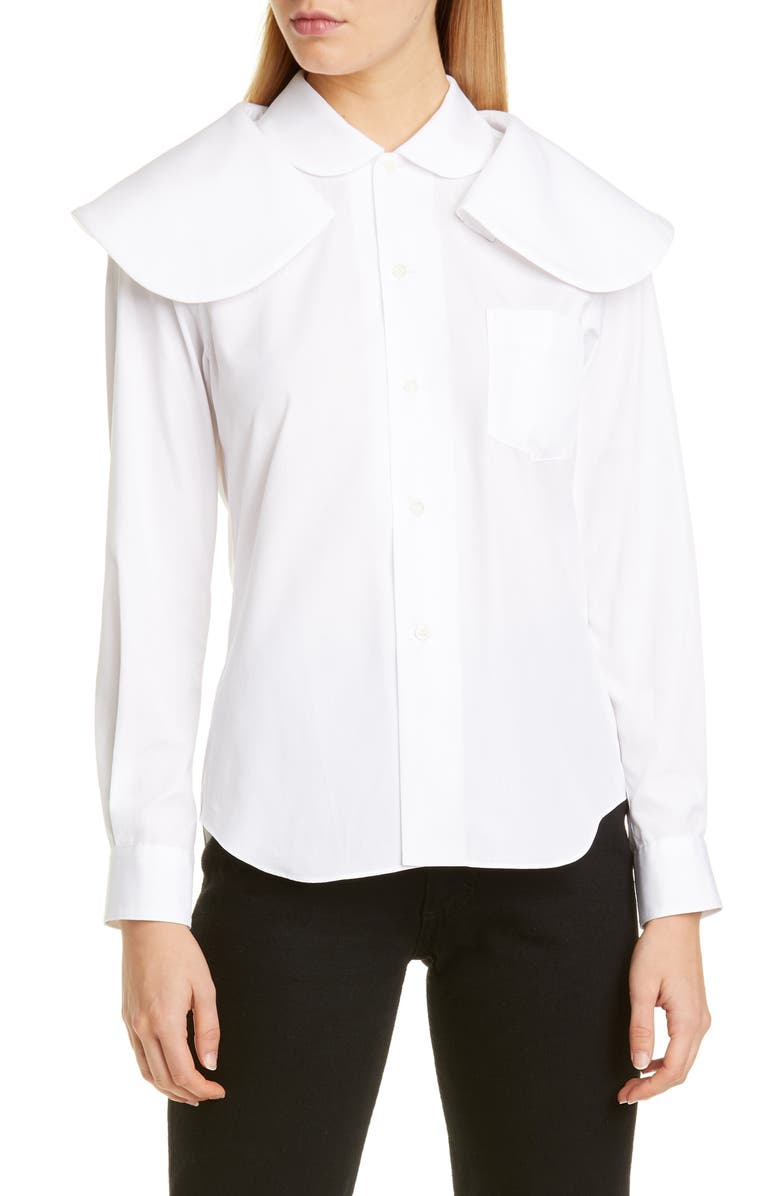 COMME DES GARÇONS Exaggerated Double Collar Shirt, Main, color, WHITE