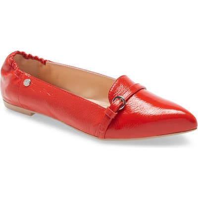 Agl Buckle Detail Pointed Toe Ballet Flat - Red