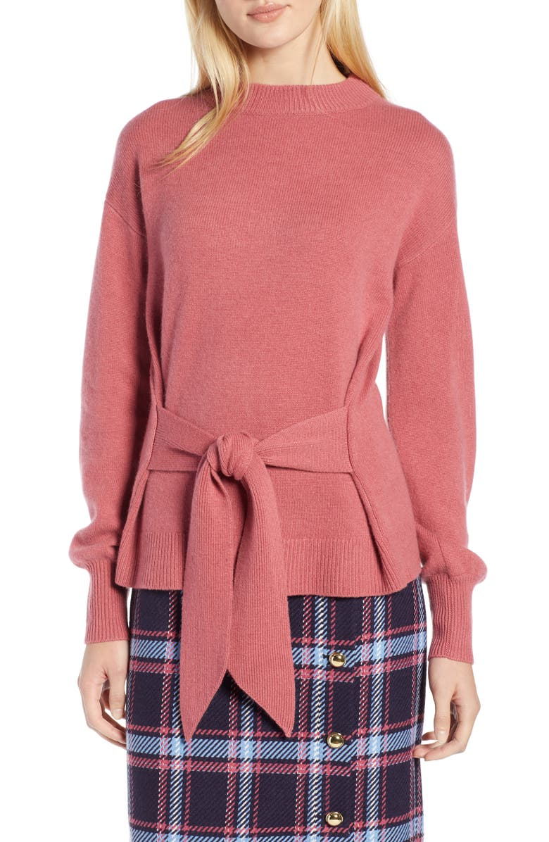 HALOGEN<SUP>®</SUP> x Atlantic-Pacific Wool and Cashmere Blend Tie Sweater, Main, color, 660