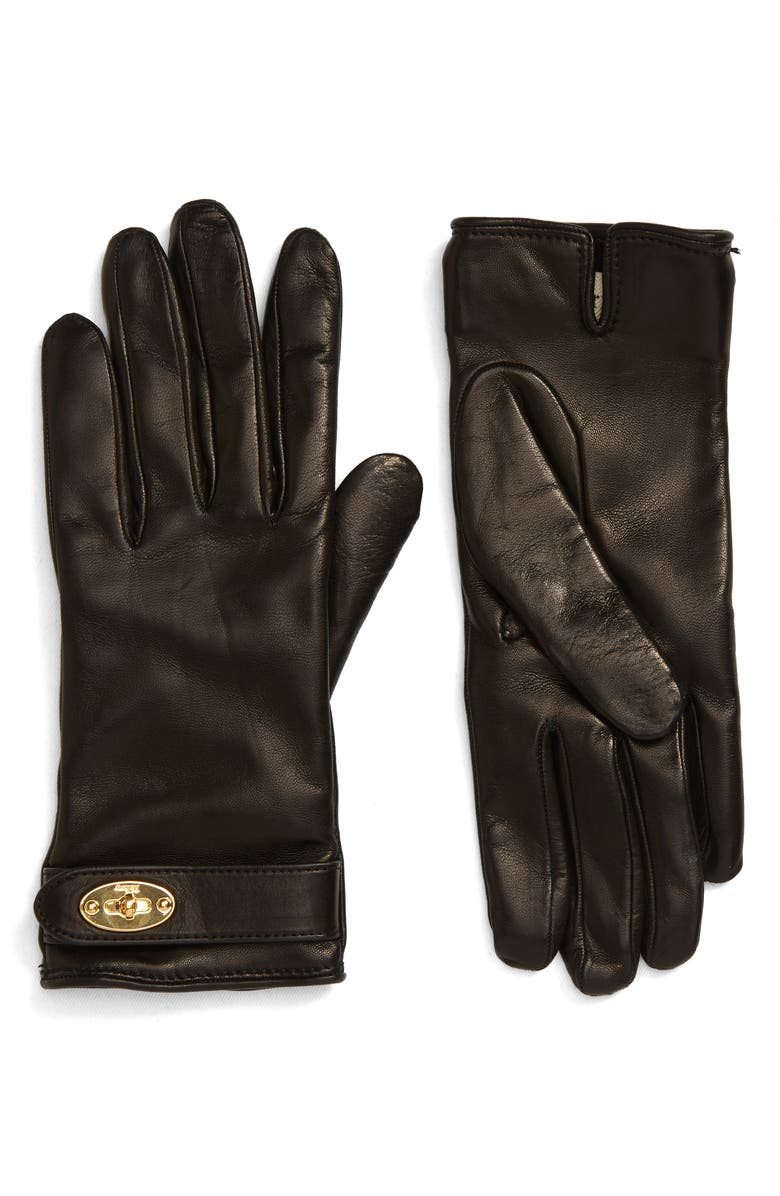 MULBERRY Darley Cashmere Lined Leather Gloves, Main, color, BLACK