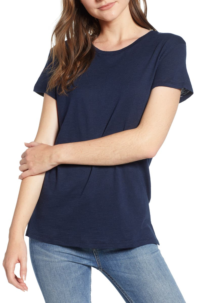 AMOUR VERT Leif Slub Tee, Main, color, DARK NAVY