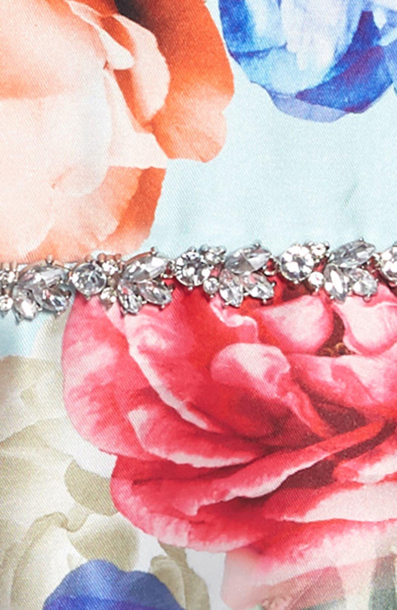 ,                             Floral Mikado Fit & Flare Dress,                             Alternate thumbnail 3, color,                             LIGHT BLUE