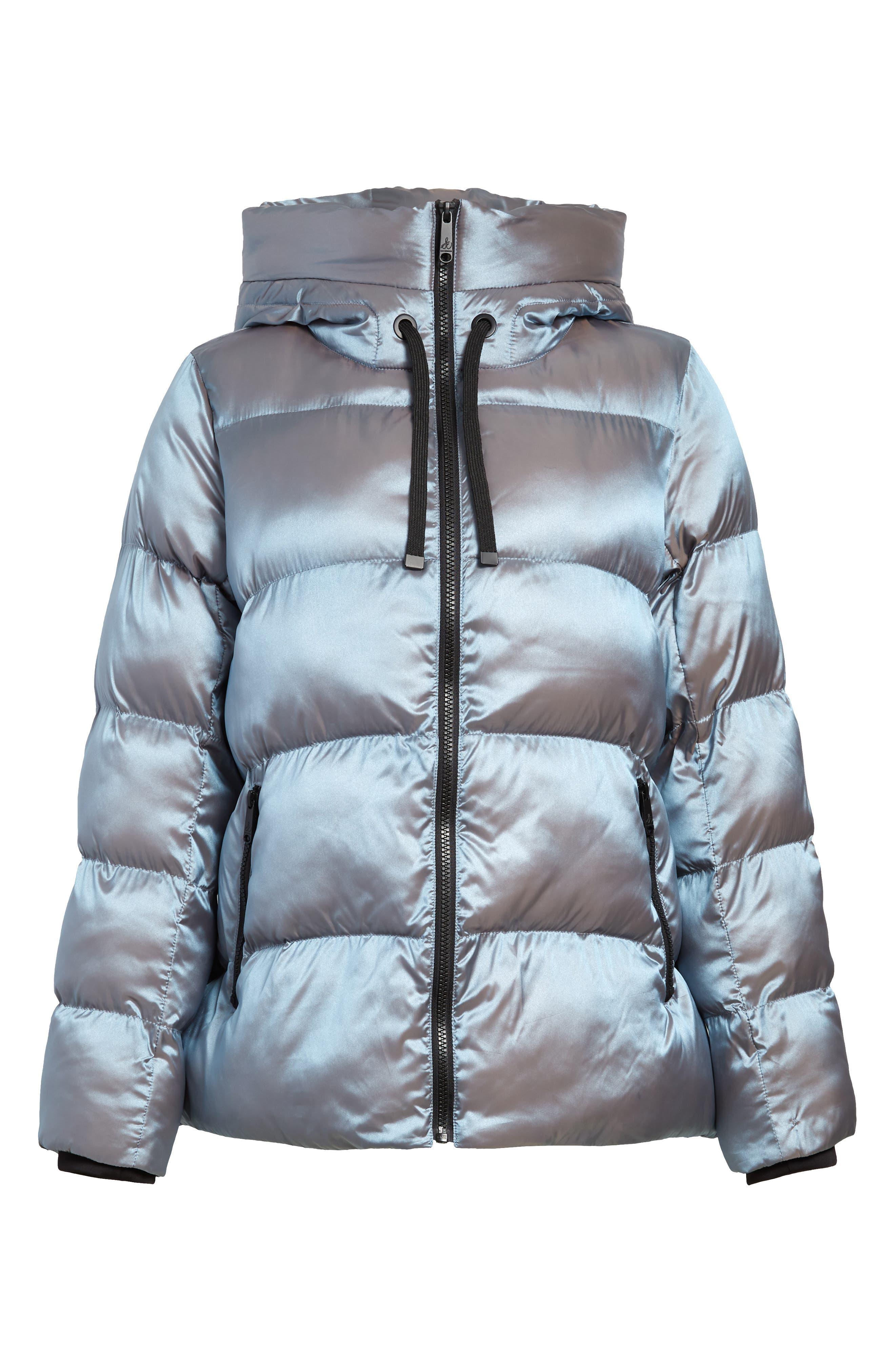 Sam Edelman Women S Sam Edelman Iridescent Water Repellent Hooded Puffer Jacket Size Small Blue From Nordstrom Com Shefinds
