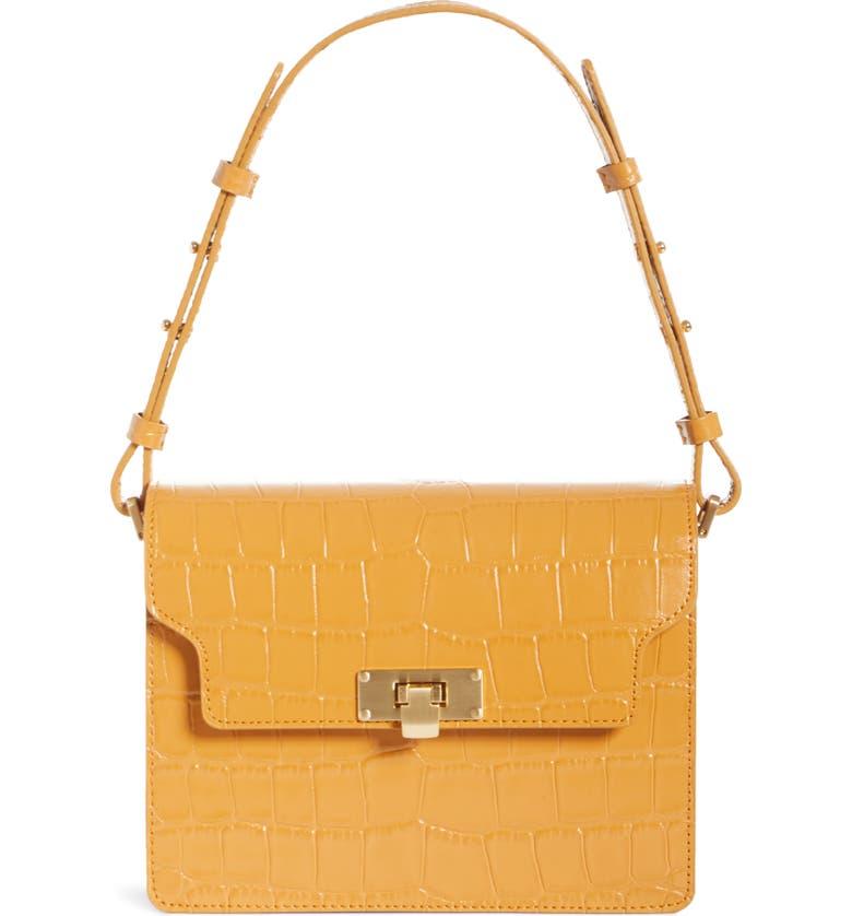 MARGE SHERWOOD Vintage Brick Croc Embossed Leather Bag, Main, color, TAN CROC