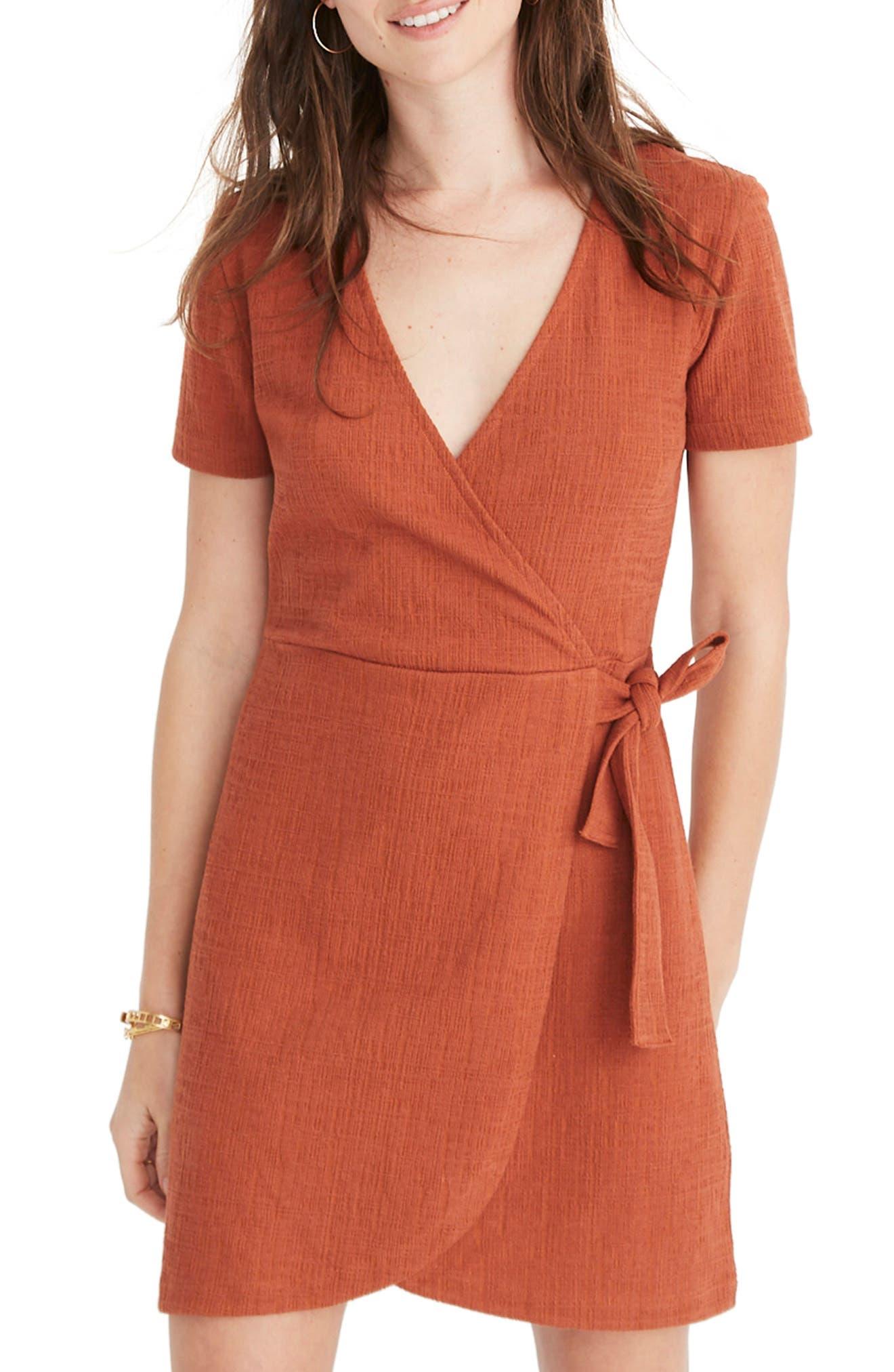 Madewell Texture & Thread Short Sleeve Side Tie Dress