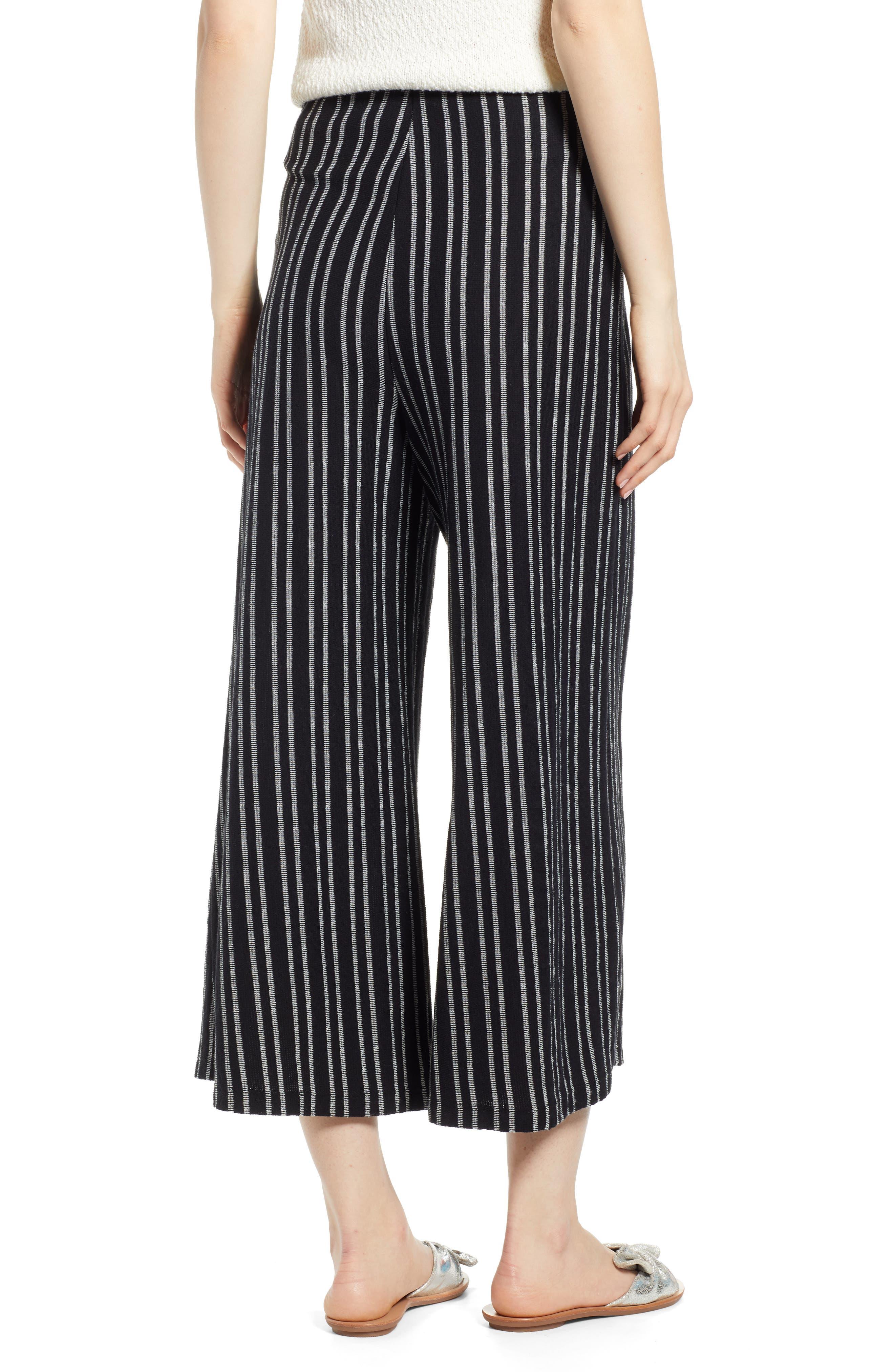 ,                             Tie Waist Stripe Wide Leg Crop Pants,                             Alternate thumbnail 2, color,                             BLACK WHITE STRIPE