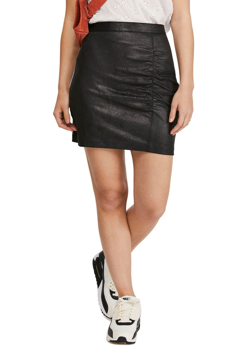 FREE PEOPLE Rumi Ruched Faux Leather Miniskirt, Main, color, BLACK