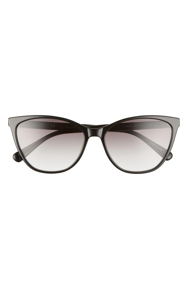 LONGCHAMP Le Pliage 57mm Gradient Cat Eye Sunglasses, Main, color, BLACK