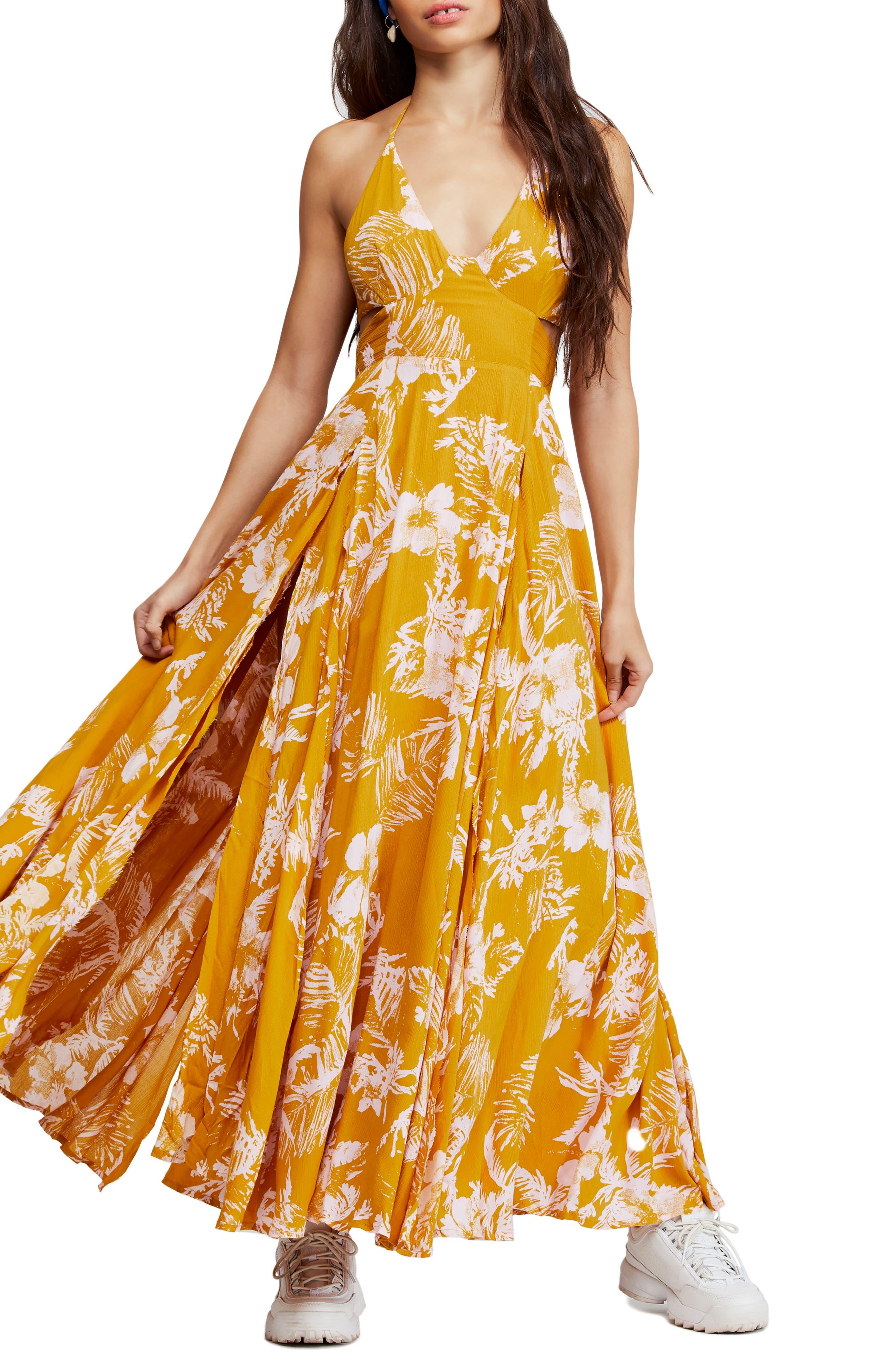 Free People Lille Print Maxi Dress, Yellow