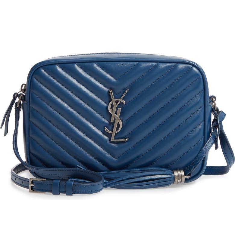 SAINT LAURENT Lou Matelassé Calfskin Leather Camera Bag, Main, color, SEA BLUE
