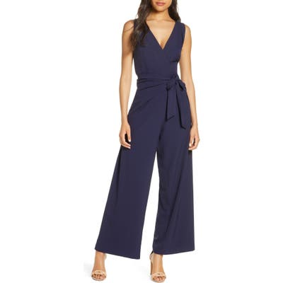 Julia Jordan Faux Wrap Wide Leg Jumpsuit, Blue