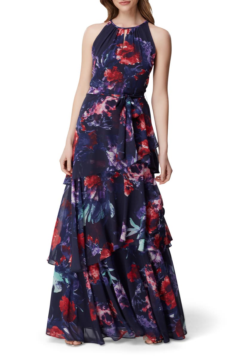 TAHARI Sleeveless Printed Chiffon Gown, Main, color, NAVY PAINTED FLORAL