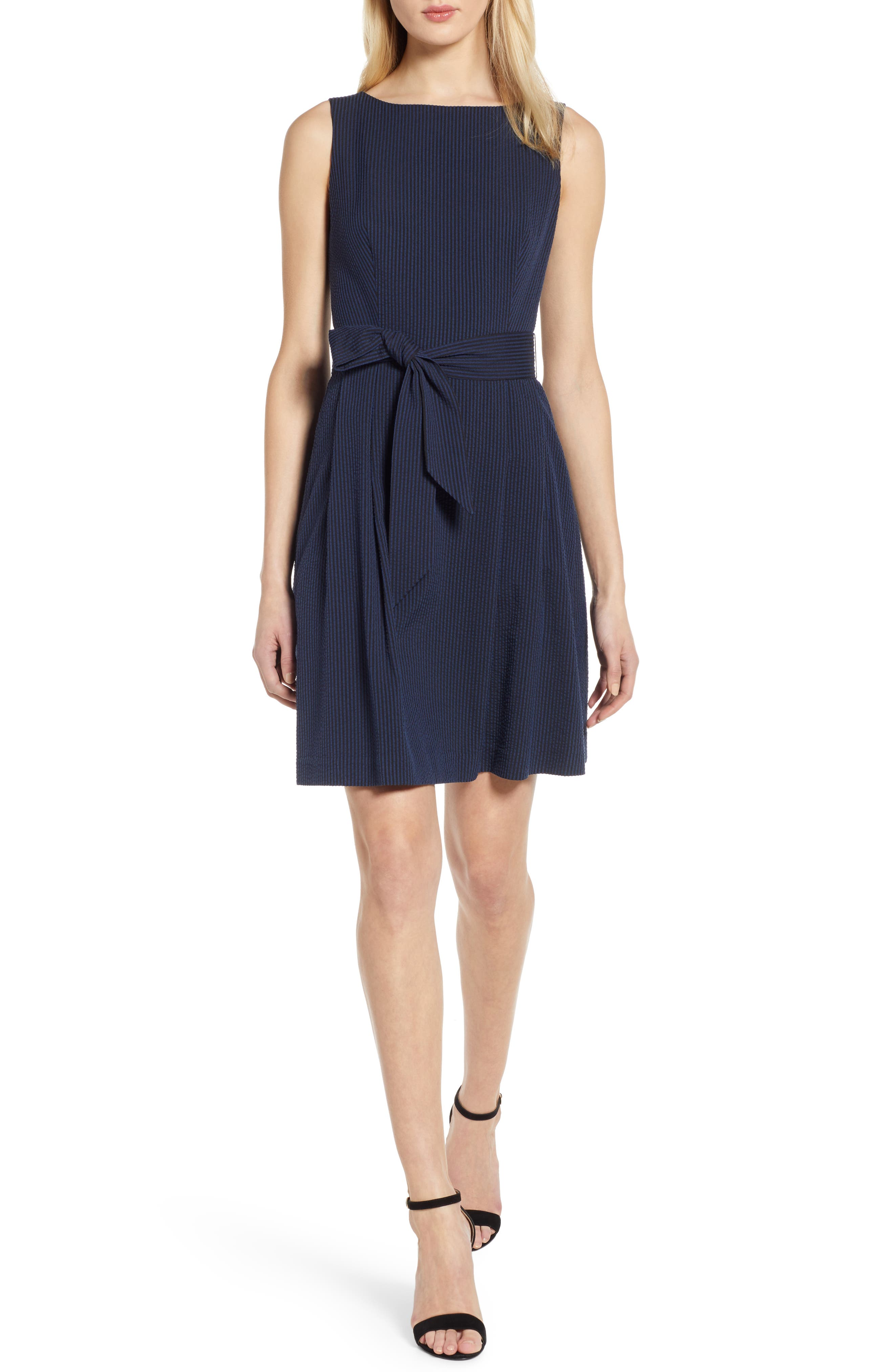 Anne Klein Seersucker Fit & Flare Dress, Blue