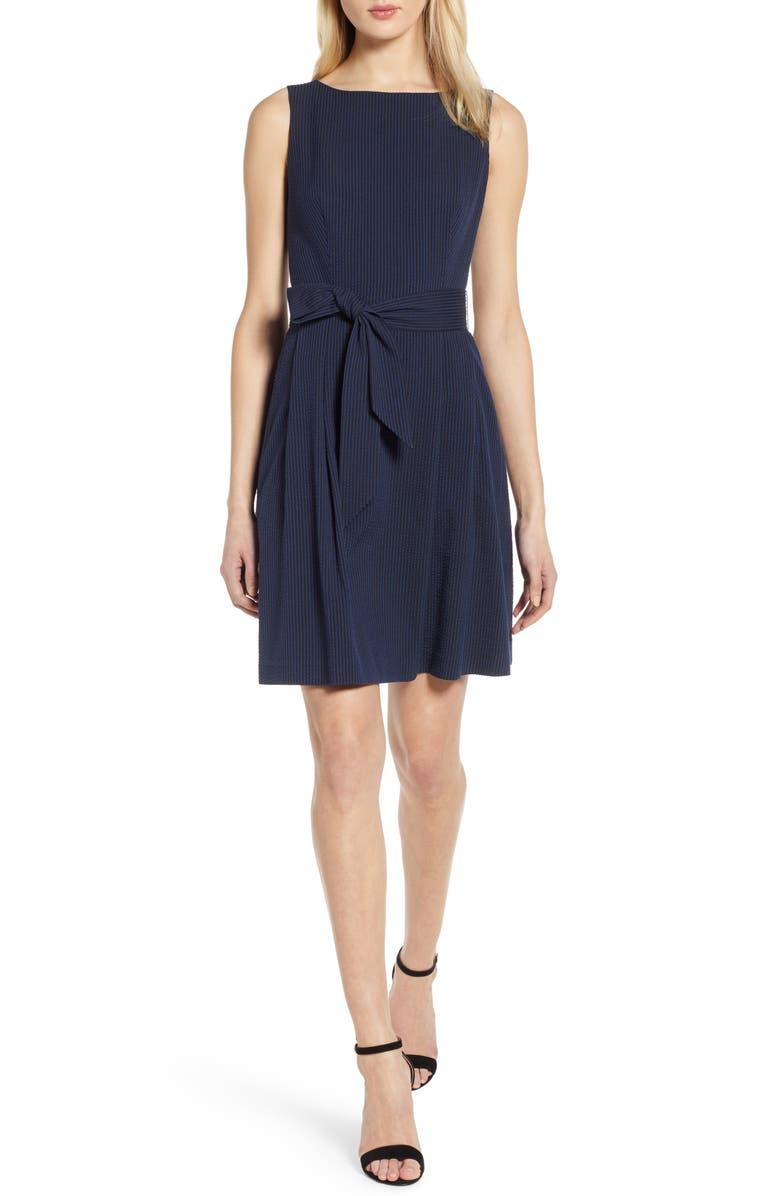 ANNE KLEIN Seersucker Fit & Flare Dress, Main, color, DISTANT MOUNTAIN / ANNE BLACK