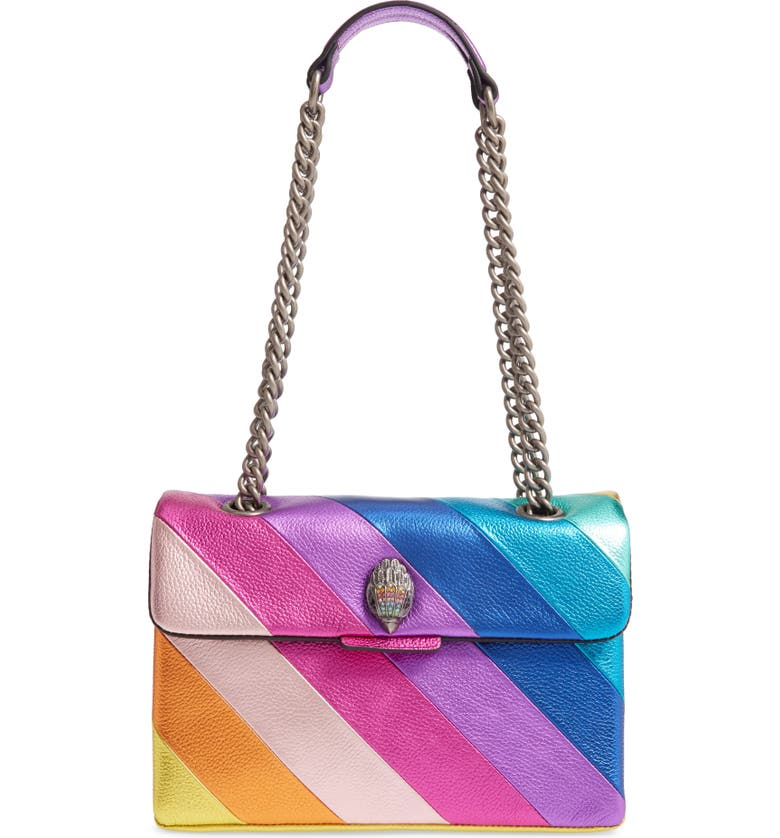 KURT GEIGER LONDON Kensington Leather Shoulder Bag, Main, color, PINK MULTI