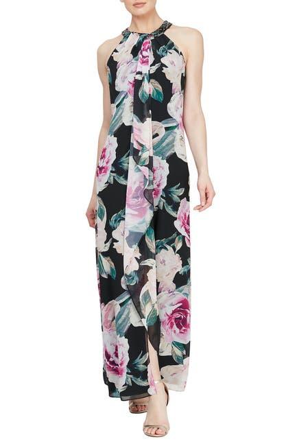 Image of SLNY Floral Embellished Neck Maxi Dress