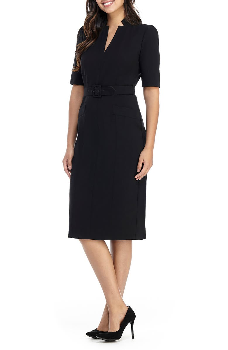 MAGGY LONDON Belted Sheath Dress, Main, color, BLACK