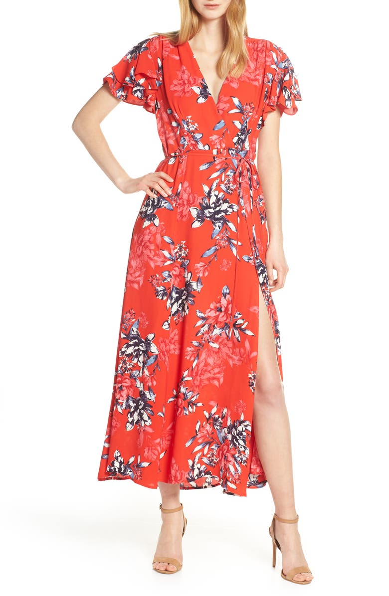 FRENCH CONNECTION Colletta Faux Wrap Maxi Dress, Main, color, BRIGHT FLAME MULTI