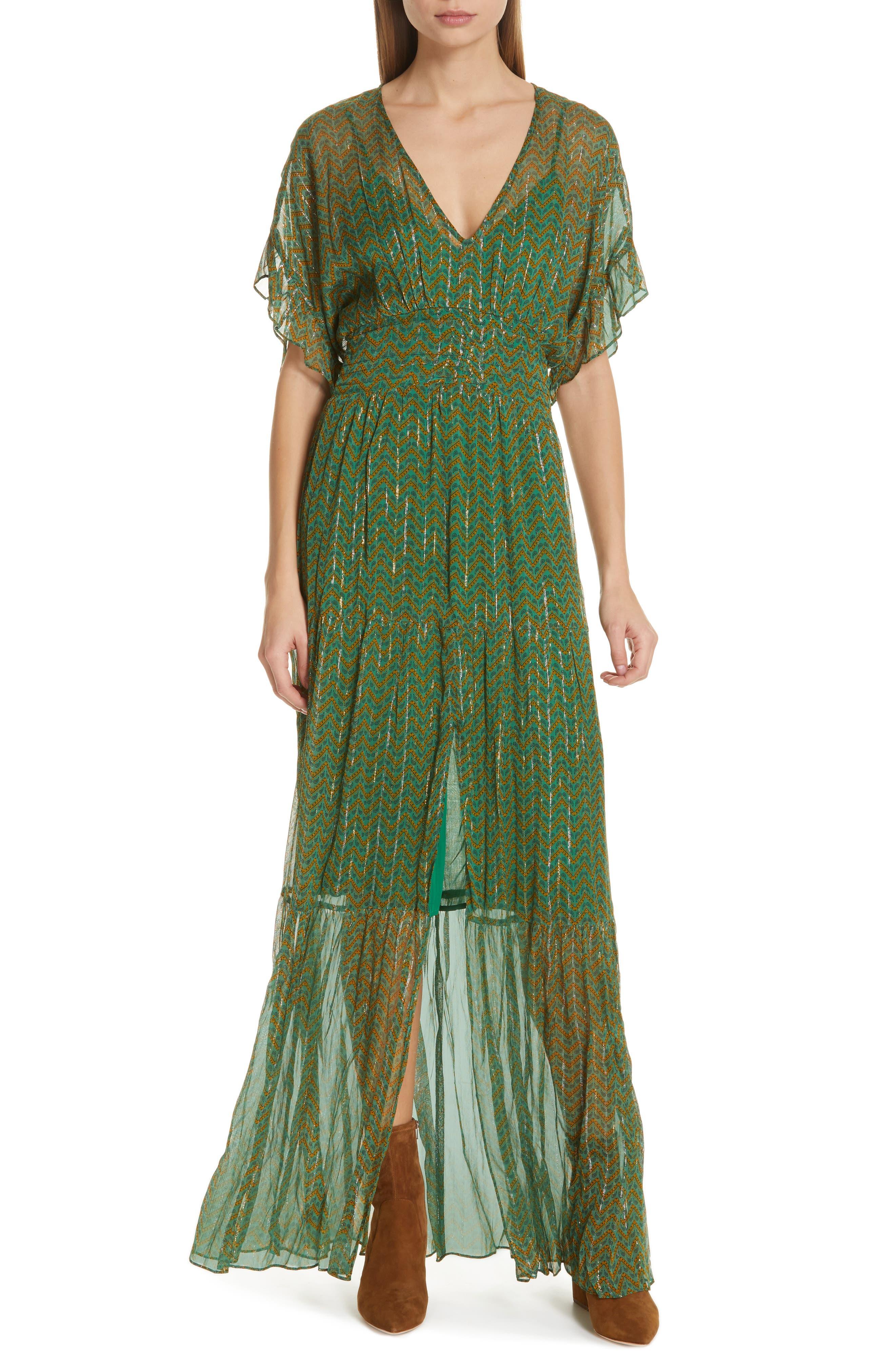 Ba & sh Wanda Metallic Accent Maxi Dress, Green