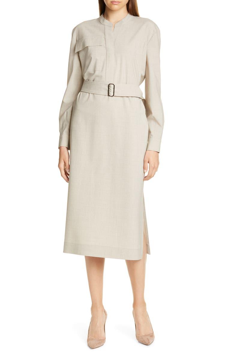 JUDITH & CHARLES Livorno Long Sleeve Shirtdress, Main, color, CAMEL MELANGE