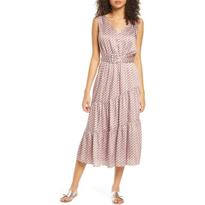 Sam Edelman Chain Print Belted Midi Dress, Pink