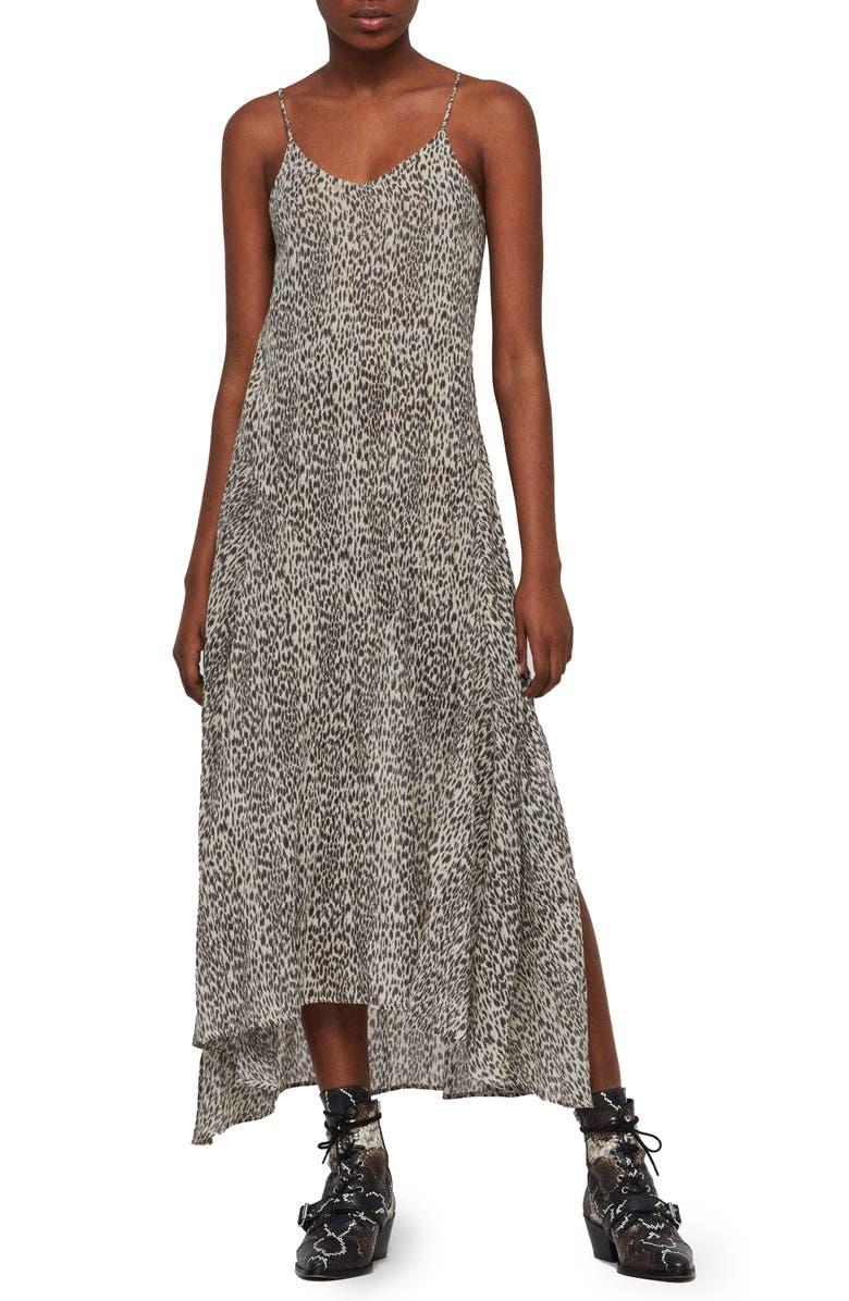 ALLSAINTS Essie Leopard Print Maxi Dress, Main, color, SAND BROWN